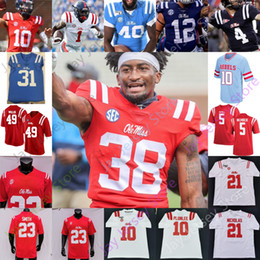 2020 azul futebol jersey 2020 Ole Miss Rebels Football Jersey Universitário NCAA John Rhys Plumlee Matt Corral Scottie Phillips Snoop Conner Elias Moore Drummond Coatney azul futebol jersey barato