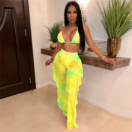 set giallo bras Sconti Bright Yellow due 2 piece set Women Sexy Halter Bandage reggiseno Bassiera increspature pantaloni lunghi 2020 della spiaggia di estate 2 Pz coordinati