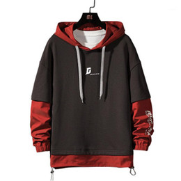 2021 pull coréen taille plus Faux Deux Sweat-shirts Designer New Casual Male Plus Size en vrac chandail à capuchon Homme Patchwork Hoodies Mode version coréenne pull coréen taille plus pas cher