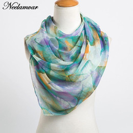 2021 зимние шарфы индии fashion long georgette scarf women leaves printing silk scarves new 2020 Autumn and Winter girls shawl echarpe from india