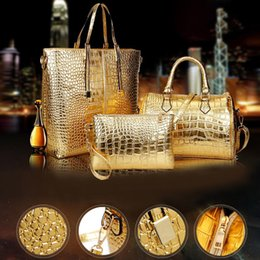 2020 ensemble de sac à main d'or 3pcs / set grande capacité Sac à bandoulière Femme Motif crocodile Crossboby Sac Lady Or Argent Femmes sacs à main # T2G T200914 promotion ensemble de sac à main d'or