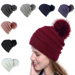 Balles de golf dames en Ligne-Hiver dames Bonnet chaud Pompon Big Hair boule Chapeau Mesdames crâne Bonnet solide crochet Ski Party Outdoor Hat DA981