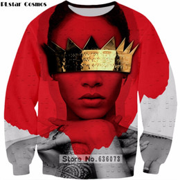 Hoodie de rihanna on-line-PLstar Cosmos 2019 The New Fashion camisola do estilo Hip hop Hoodie cantora Rihanna 3D Imprimir Mens Womens pulôver ZS135