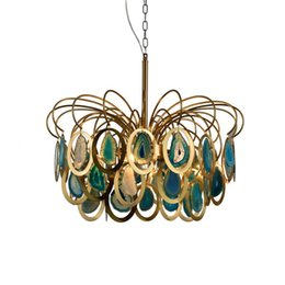 Nordic creative Stair Agate Stone Chandelier LED Chandelier