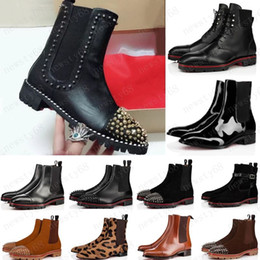 Motocicleta perfecta online-2020 Fashion Style Red Bottoms Sneaker Men Boot Spikes Suede Cuero Sole Red Sole Hombres Zapatos Super Perfect Melon Motorcycle Boot for Men