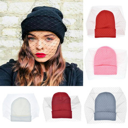 Вуали онлайн-Women Lace Fishnet Veil Crochet Knit Skullies Cap Femme Winter Warm Street Beanie Hat Lady Sexy Mesh Dance Party Gorros #T5P