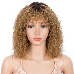 cortes de cabelo loiro Desconto Styeticon Curly Human Human Wigs para Mulheres Afro Afro Kinky Curly Pixie Cut Wig Remy Ombre Blonde Wigs com franja