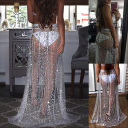 röcke sehen, durch spaltungen Rabatt Sommer Sexy Bademode Strass lange Pailletten-Rock loser Seiten Split Mesh-See Through Gold-Maxi Glitter Rock Sparkle Female