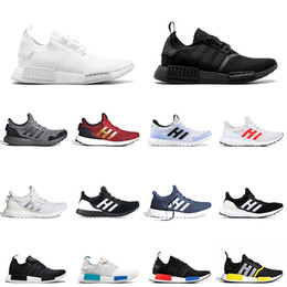 Японская обувь онлайн-Bred NMD R1 Mens Running shoes atmos Thunder OREO Runner Primeknit OG atmos Japan Triple black White Men Women beige Runner Sports sneakers