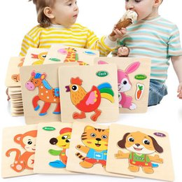 Enigmas para crianças on-line-Wooden Toddler Puzzles Set WOOD Animal Wood Puzzles Educational Toys for Children Christmas Educational toys KKA8079