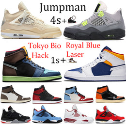 Pu running shoes on-line-New 4s Sail Jumpman 1s 1 Tokyo Bio Hack basketball shoes 4 metallic purple green black cat Chicago royal Toe sport running sneakers