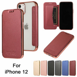iphone transparenter flip cover fall Rabatt Für iPhone 12 11 PRO MAX X XR XSMAX 8 7 Plus TPU Transparent Brieftasche Leder Flip Back Cover Phone Case