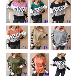 superiore della banda collo Sconti New Women Long Sleeve Leopard Color Block Stripe Round Neck T Shirt Tops Knitted Sweater Pullover Party Xmas Clothing Free DHL ship HH9-3322