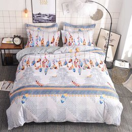 2020 cama colorida define rainha Moda Feather Bedding Set Colorful Bohemian edredon cobrir fronhas Lençóis Single Queen King Size Home Textiles cama colorida define rainha barato