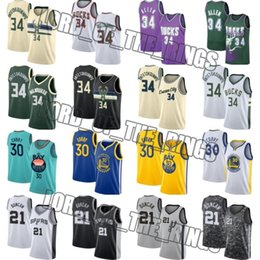 Maglia tim duncan online-Stephen Curry 30 Jersey Giannis 34 Antetokounmpo maglie Tim Duncan 21 Golden State