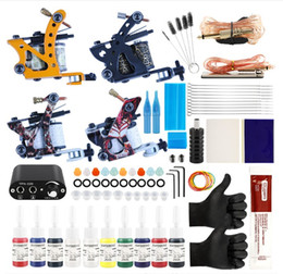 машина для татуировки с электроприводом Скидка Professional Complete Tattoo Kit Tattoo Machine 4pcs Liner Shader Tattoo Gun 10 Color Immortal Ink Set Power Box Grip Tip