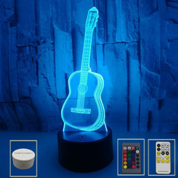 lampes de guitare Promotion 3d Guitar Led Night Lights Seven-color Touch Light 3D Touch Visual Light Creative Gift Atmosphere Small Table Lamps