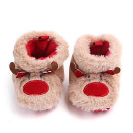 рождественская обувь Скидка Newborn Toddler Infant Girl Winter Baby Girls Keep Warm Shoes Christmas Deer Elk First Walkers Anti-slip Footwear Shoes