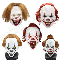 2021 máscaras de halloween de horror de silicona 5Styles Halloween Mask Silicone Movie Stephen King's It 2 Joker Pennywise Mask Full Face Horror Clown Cosplay Prop Party Masks RRA3628