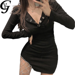 Vestido de diamante sexy preto on-line-YG Diamante Patchwork Bodycon vestido de mulher sexy com decote em V Party Club Black Dress Causal manga comprida Streetwear Mini Vestido