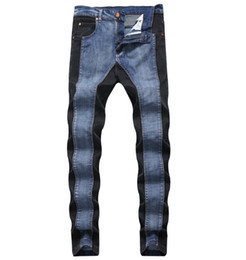 Los hombres de los pantalones vaqueros de color azul online-Size Top US Fashion Coloured Double Color Jeans Men's Slim Stretch Denim Cowboy New Brand Blue Black Pants