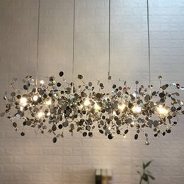 Terzani Argent Chandelier Lighting Hand Made Stainless Steel Leaf Chandelier lamp Villa Suspenion Lighting Hanging Lights