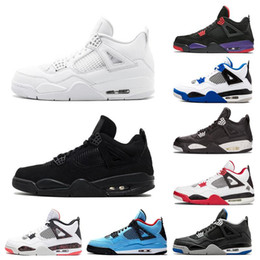 Chaussures de basket-ball des hommes en Ligne-Nike Air Jordan 4 Bred 2019 What The Basketball Shoes 30th Anniversary Laser Silt Red Splatter Singles Day Lightning Pure Money Oreo Men 4 Sneakers 40-47