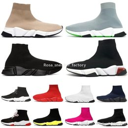 Chaussures à paillettes claires en Ligne-Chaussettes Chaussures Graffiti Speed ​​Baskers Runner Triple Noir Beige Glitter Fashion Clear Sole Femmes Mens Sneakers Casual Plateforme 36 -45