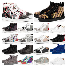 Gold spiked sneakers online-sneakers 2019 designer Brand Studded Spikes Flats schuhe Rote Unterwäsche schuhe luxus Mens Womens Party Liebhaber Echtes Leder Sneakers größe 36-46
