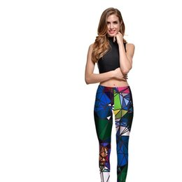diamantdruckgamaschen Rabatt Leggings Probe Frauen Diamant-Farben-Stitching Leggings Digital Print-Hosen-Hose Stretch Pants Plus Size DropShip