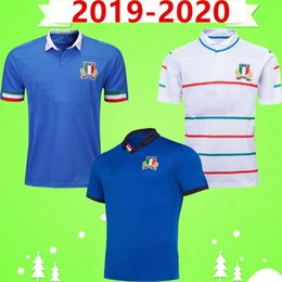 Jogos de roupas on-line-Novo 2019 2020 Italia Rugby League Jersey 19 20 Home Court Away Game Azul Branco Palavra Cup Mens Rugby Jerseys Treinamento Top Quality Wear Tshirt
