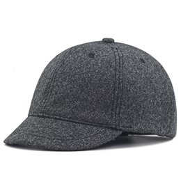 Laine feutre casquette de baseball en Ligne-Winter Large Size Baseball Caps Old Men Warm Short Peak Wool Hat Big Head Man Plus Size Felt Snapback Cap 56- 62- LJ200916