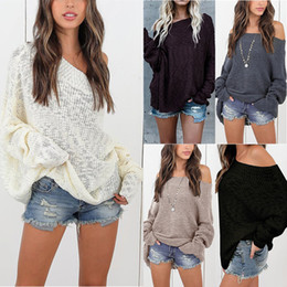 2021 chandails d'épaule lâche Femmes automne hiver Sexy Pulls Sexy Couleur Solide Manches Longues Épaule Swear Sweater Streetwear Pull Tops 2020