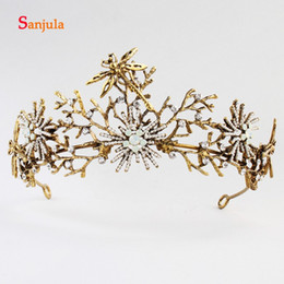 Couronne d'or en Ligne-Gold Tiaras and Crown with Earrings Wedding Jewelry for Bridal 2020 Baroque Dragonfly Hair Jewley coronas de reina H377