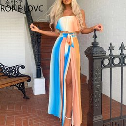Robe maxi de fente avant en Ligne-Femmes épaules avant Slit Colorblock Maxi Dress Fashion élégante Chic Party Dress C200919