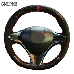 Accessori per auto honda civic online-Fai da te Genuine Leather Steering scamosciata fibra del carbonio dell'automobile della rotella della copertura per il Honda Civic 2004-2011 Vecchio (3 razze) Civico 8 2006-2009 accessori auto