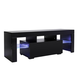 2021 luz central led  Waco Sala de estar elegante suporte de TV de alto brilho, luz LED com prateleiras Única gaveta, moderno TVs Stands Console Durable Entertainment Secretária Mesa Preto
