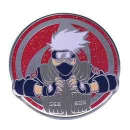 Naruto badge avec épinglette en Ligne-Anime Naruto Enamel Épingles Naruto Hatake Kakashi Broche Métal Sac à dos Mignon Vêtements Collier Broches Anime Fans Badge Bijoux