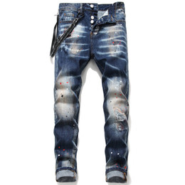 designer blue jeans für männer Rabatt Unique Mens Distressed Ripped Blue Skinny Men Jeans Fashion Designer Slim Fit Washed Motocycle Denim Pants Panelled Biker Trousers 1048