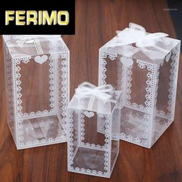 2021 scatole di mele caramelle all'ingrosso Commercio all'ingrosso 10 / 50pcs New Clear PVC Box Box Imballaggio da sposa / Christmas Break Cake Chocolate Candy Mele regalo evento trasparente scatola / custodia1