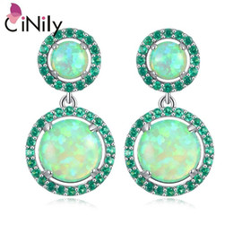 2021 blau, grün, opal ohrringe  CiNily Blue & White & Green Fire Opal Long Earrings Silver Plated Round Filled Earring With Stone Luxury Large Jewelry Woman