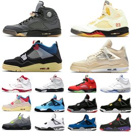 Кроссовки для спорта онлайн-Nike air jordan retro Stock X Neon 4 Mens Basketball shoes Travis scott 4 cactus jack Metallic Pack Rasta Splatter Royalty Black Cat 4s Men Women Sports Designer Sneakers 5.5-13