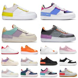 rosa corre sapatos Desconto nike air force 1 shadow airforce af1 off white 2020 Top Quality Men Women Running Sport Shoes Classic Shadow White Barely Rose Pale Ivory Metallic Basketball Skateboarding Shoes