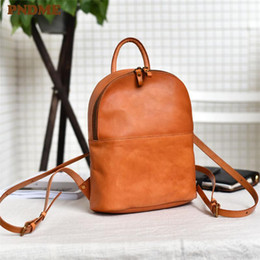 bagpack in pelle Sconti PNDME Fashion Vintage Genuine Leather Ladies Small Zaino Semplice Casual Casual di alta qualità Soft Cowhide Donna Carino Bagpack Bookbag