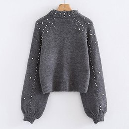 Jumper de frisado on-line-Bigsweety Women Turtleneck Sweaters Pearl Beading Sweater Autumn Winter Warm Lantern Sleeve Women Jumper Pull Knitted Pullovers