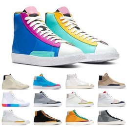 Blazers de couleur grise en Ligne-Blazer multicolore Multi-Color Mid 77 Hommes Femmes Chaussures de course Marine Sésame Dorothy Gaters Sail Blanc Cool Gris Hommes Trainer Sports Sneakers 36-45