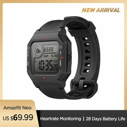 original-akku apfel Rabatt Im Lager 2020 Amazfit Neo Smart Watch Bluetooth Smartwatch 5ATM Herzfrequenz-Tracking 28 Tage Batterie-Lebensdauer Original Für Android IOS Phone