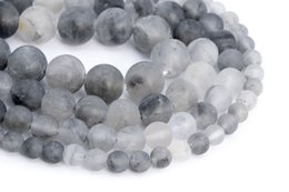 Perline grigio 8mm online-Matte Gray Crystal Quartz Gemstone Loose Beads Round Shape 4mm 6mm 8mm 10mm 15mm For Jewelry Making