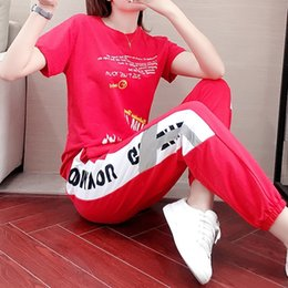 2020 rote schweißanzug frauen Sommer-Frauen Red Sports Straße Kpop Mode 2-teiligen Tops Hosen Jogging Femme Sweat Suit Set Club-Outfits Anzug