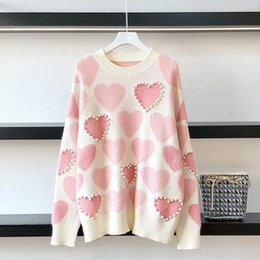 Jumper de frisado on-line-2020 Outono Mulheres Pulôver Beaded Love Heart Jacquard Malha Jumper Casual Pull Femme Sweater Drop Shipping